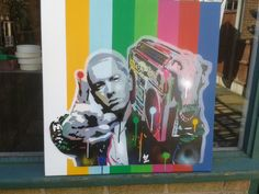 Painting of Eminem stencils & spray paints by AbstractGraffitiShop https://www.etsy.com/uk/shop/AbstractGraffitiShop
