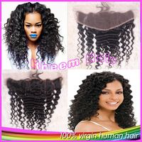 6A Free Middle 3 Part Brazilian Deep Wave Lace Frontal Closure Bleached Knots 100% Virgin Natural Color Human Hair Free Shipping