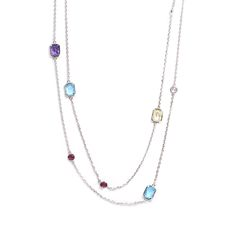 """Bank on bold color with this fun long necklace with bezeled stones that are colorful and stationed along the length of the necklace Length: 40"""" #MORANA"""