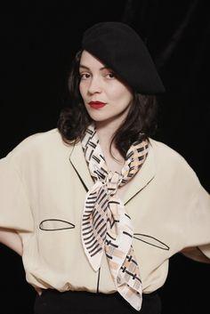 """All of this. SuTurno """"Bistro beige"""" silk scarf  Photo: Lourdes Cabrera Model: Andrea Pimentel"""