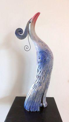 Keramik - PARADIESVOGEL FebruarFrost - ein Designerstück von Brigitte_Peglow bei DaWanda