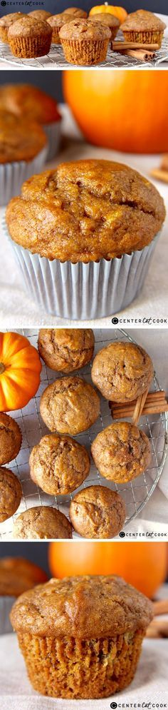 bananas, 1 can pumpkin, 1 container applesauce. Bake 350 for 18 minutes. These PUMPKIN BANANA MUFFINS are a delicious combination of two classics. They are so easy to make and they taste amazing! Muffins Blueberry, Zucchini Muffins, Healthy Pumpkin Muffins, Yummy Treats, Delicious Desserts, Yummy Food, Tasty, Cupcakes, Cupcake Cakes