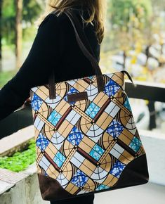 Machine Quilted..Beige and Blue Pattern..Zipper and Lined in Blue Large Hobo Fabric bag....African Wax Print Cotton...Boho... Handmade