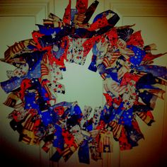4th of July fabric-knot wreath, SO easy!!