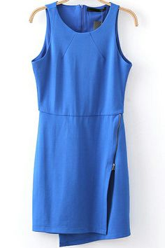 Blue Sleeveless Oblique Zipper Bodycon Dress S.Kr.174.85