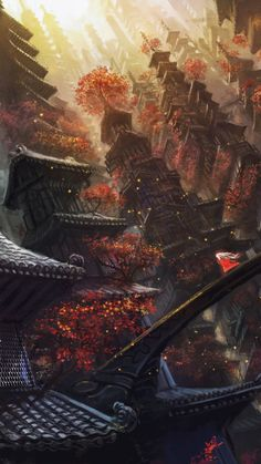 chinese-temple. Asian art and matte paintings