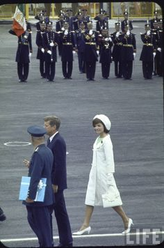 Pres. John Kennedy and wife Jacqueline arriving for a state visit to Mexico City. Location: Mexico City, Mexico Date taken: July 1962 Photographer: John Dominis