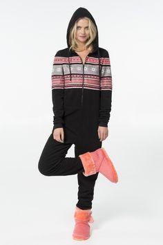 Black & red snow print fleece onesie - PJs & Robes - Clothing   Ardene Official Online Store