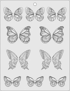 butterfly Template/stencil for chocolate decorations (frosting for cookies decorating) Royal Icing Templates, Royal Icing Transfers, Cake Templates, Cake Decorating Supplies, Cake Decorating Techniques, Cookie Decorating, Cake Supplies, Baking Supplies, Chocolate Template