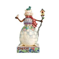 Jim Shore Heartwood Creek Cat Snowman wi...
