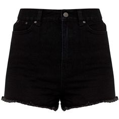 Shelby Black High Waisted Denim Short ($26) ❤ liked on Polyvore featuring shorts, high-rise shorts, high-waisted shorts, denim short shorts, jean shorts and short jean shorts