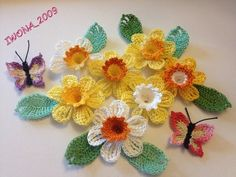 COTTON CROCHET FLOWERS DAFFODILS ~LEAVES ~BUTTERFLIES ~APPLIQUE EMBELLISHMENT | eBay
