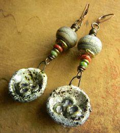 Items similar to Tribal Jewelry Lampwork Earrings Artisan Orange Green Bronze Boho Beaded Jewelry on Etsy Tribal Earrings, Tribal Jewelry, Beaded Jewelry, Yellow Snake, African Trade Beads, Vintage Yellow, Designer Earrings, Vintage Earrings, Primitive