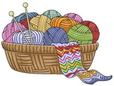 Clipart of a Basket of Yarn and Knitting Needles - Royalty Free Vector Illustration by BNP Design Studio Knitting Quotes, Knitting Humor, Knitting Yarn, Knitting Projects, Knitting Patterns, Crochet Patterns, Knitting Needles, Free Vector Illustration, Illustrations