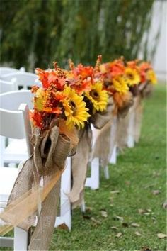 33 Fall Wedding Aisle Decorations to Blow Your Mind Away! 33 Fall Wedding Aisle Decorations to Blow Your Mind Away! Sunflower Wedding Decorations, Wedding Aisle Decorations, Fall Wedding Flowers, Orange Wedding, Fall Wedding Colors, Wedding Bouquets, Wedding Centerpieces, Fall Sunflower Weddings, Country Wedding Colors