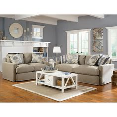 Addison - Khaki Living Room Set   Love it. Cozy, comfortable, not fussy. Love the blue walls and white trim too.