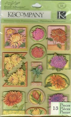 K & Company Grand Adhesions -- SW Spring Blossom Peonies -- NEW -- self adhesive dimensional stickers (#874)