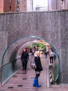 Secret shortcut down 6 1/2 avenue from 51st to 57th street, a pedestrianized escape from the craziness of midtown Manhattan. Paley Park, with its 20 foot waterfall, is situated close by as is the glass waterfall tunnel.