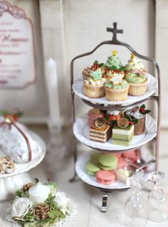 3-tier pastries by Nunu's House for miniature dollhouse bakery.