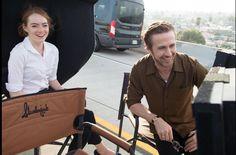 "La La Land BTS - Emma Stone & Ryan Gosling watch ""Another Day of Sun."""