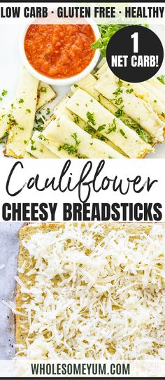 Full Body Weight Loss Diet Cheesy Low Carb Cauliflower Breadsticks Recipe - This easy cheesy cauliflower breadsticks recipe is perfectly crispy and chewy! Low carb cauliflower breadsticks are just 6 ingredients and 1 net carb each. Cauliflower Breadsticks, Breadsticks Recipe, Cheesy Cauliflower, Cauliflower Recipes, Vegetable Recipes, Low Carb Recipes, Real Food Recipes, Great Recipes, Healthy Recipes