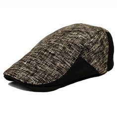 Men's Leather Eaves Knit Beret Hats Winter Warm Peaked Cap - Gchoic.com