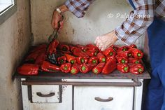 Roasted peppers for Ajvar. Delicious Serbian spread of roasted peppers and eggplant.