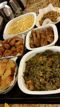 Collard greens, baked ribs, everything cornbread, mac and cheese, fried chicken, fried okra.