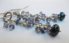 Dainty gemstone sterling silver drop earrings by BelhavenStudios