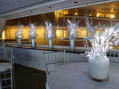 Icy branch winter theme snowy centerpieces for corporate party in Boston, MA by The Prop Factory, via Flickr