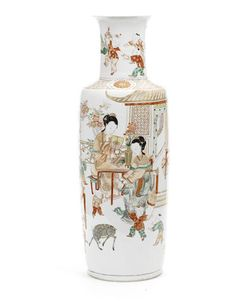 A large and rare enamelled rouleau Vase Kangxi Period