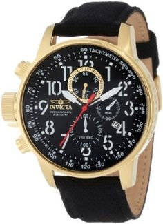 """Relógio Invicta Men's 1515 I """"Force Collection"""" 18k Gold Ion-Plated Stainless Steel and Black Cloth Watch #Relogio #Invicta"""