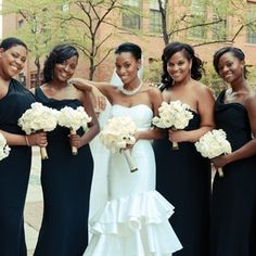 Black One Shoulder Bridesmaid Dresses - If you are interested in creating a look like this visit our website weekly for gently used fashions at www.occasionallyblackandwhite.com