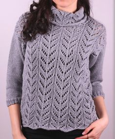 Pullover knitting PATTERN, women's 3/4 sleeve lace pullover knitting pattern, PDF knitting pattern, ladies pullover pattern, size S-XXL by GrazinasDesign on Etsy