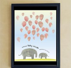 Elephants Balloon Baby Shower Guestbook Sign-in - Watercolor - Blue - Grey - Pink Theme - Printable Guestbook - Baby Boys and Girls by miHappyDay on Etsy Baby Boy Decorations, Baby Boy Themes, Boy Baby Shower Themes, Baby Shower Balloons, Baby Decor, Baby Boy Shower, Elephant Balloon, Elephant Theme, Baby Shower Souvenirs