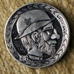Preacher Jimmy buffalo hobo nickel by Marcus Hunt Hobo Nickel, Buffalo, Classic Style, Coins, Carving, Rooms, Wood Carvings, Sculptures, Printmaking