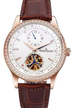 Fake Mens Jaeger LeCoultre Master Tourbillon Dualtime White Dial Rose Gold Diamond Bezel Watch With Brown Leather Strap