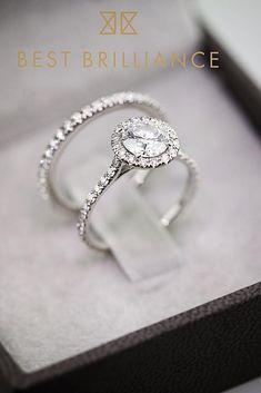 30 Wedding Ring Sets That Make The Perfect Pair ❤️ wedding ring sets halo round cut pave band set diamond ❤️ See more: http://www.weddingforward.com/wedding-ring-sets/ #weddingforward #wedding #bride #engagementrings #weddingringsets