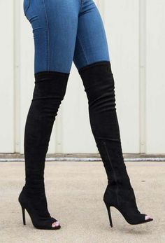 Cheap thigh high boots, Buy Quality boots sexy directly from China knee boots Suppliers: fashion black stretch fabric over the knee boots sexy open toe high heel boots 2017 thigh high boots for woman thin heels boots Thigh High Boots, Over The Knee Boots, Knee High Heel Boots, Open Toe Boots, Vetements Shoes, Strappy Heels, High Heels, Stilettos, High Heel Stiefel