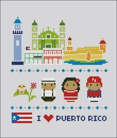 Puerto Rico icons - Mini people around the world - PDF cross stich pattern Kawaii Cross Stitch, Mini Cross Stitch, Cross Stitching, Cross Stitch Embroidery, Cross Stitch Designs, Cross Stitch Patterns, Pixel Art, Stitch Cartoon, Geeks