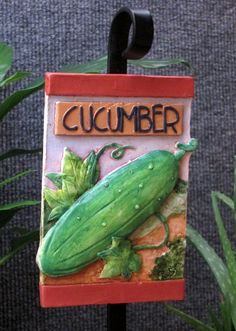 Handmade outdoor cucumber vegetable garden marker by SongoftheLamb