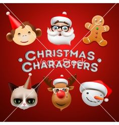 Christmas cute characters on VectorStock