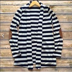 Black and white strip cardigan-2- Super chic, size L in this listing. Size s/m/l available. Elbow patch attached. Stretchable. Nwot Other