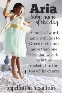 Among the most popular girl names of our moment, musical Aria appeals to parents for oh so many reasons. Music Baby Names, Baby Girl Names, Aria Name, Popular Girl Names, Name Day, Fictional World, Names With Meaning, Baby Love, Cool Words