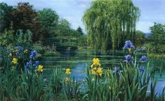 Peter Ellenshaw - Monet's Pond with Iris Border