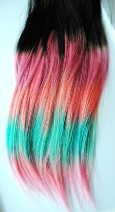 Tribal Aztec Inspired - Human Hair Extensions - Dip Dyed Tips / Tie Dyed Clip Ins // Black Pink Turquoise Peach Purple / Ombre Rainbow