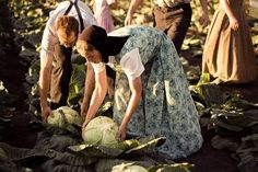 It must be interesting doing farm work in dresses of this length.                                                                                                            Lettuce collect heads             by        A Hutterites Life . Kelly Ho..