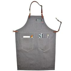 Premium Gift Adjustable Waist Ties & Leather Neck Strap Tool Aprons for coffee /Chef/ Workshop-Grey Tool Apron, Bib Apron, Leather Apron, Cow Leather, Canvas Leather, Barista, Work Aprons, Aprons For Men, Apron Pockets