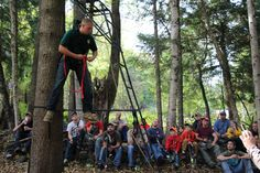 This instructor is demonstrating the importance of a harness when hunting from a trees stand.  He also covers how to recover from a fall when his full-body fall arrest system is used.