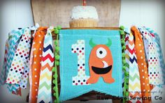 MONSTER Birthday High Chair Highchair Birthday by RawEdgeSewingCo